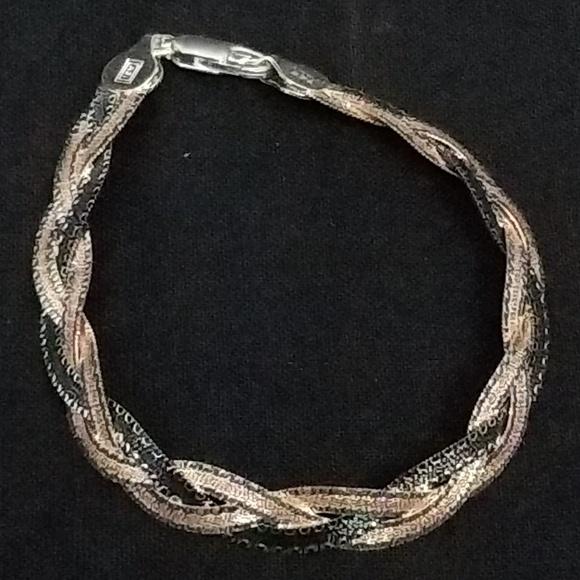 Sterling silver braided bracelet multicolor
